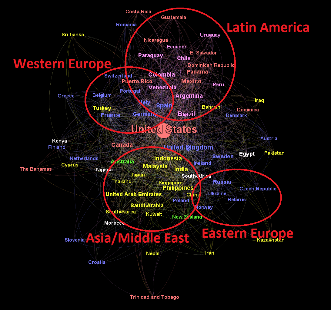 Mapping Countries in the Twitterverse | Kyle Corbitt's Blog